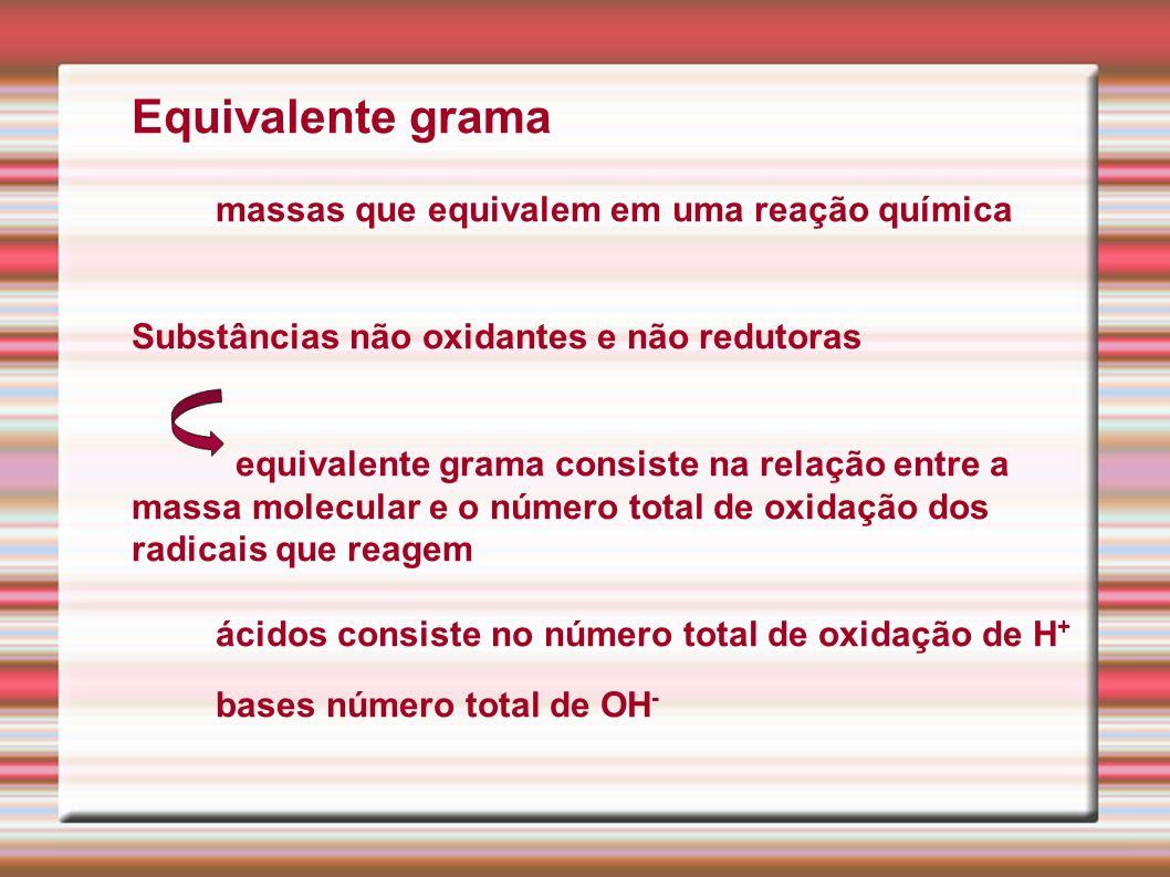 Equivalente grama massas que equivalem em uma reação química