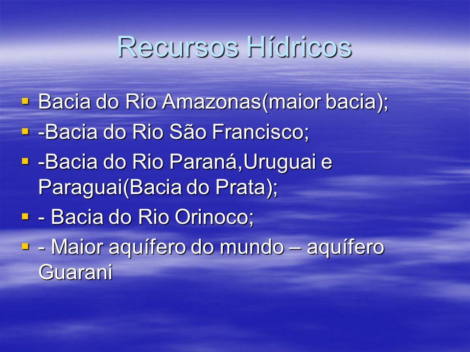 Recursos Hídricos Bacia do Rio Amazonas(maior bacia);