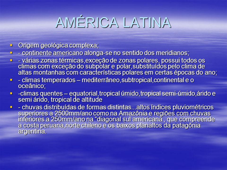 AMÉRICA LATINA Origem geológica complexa;