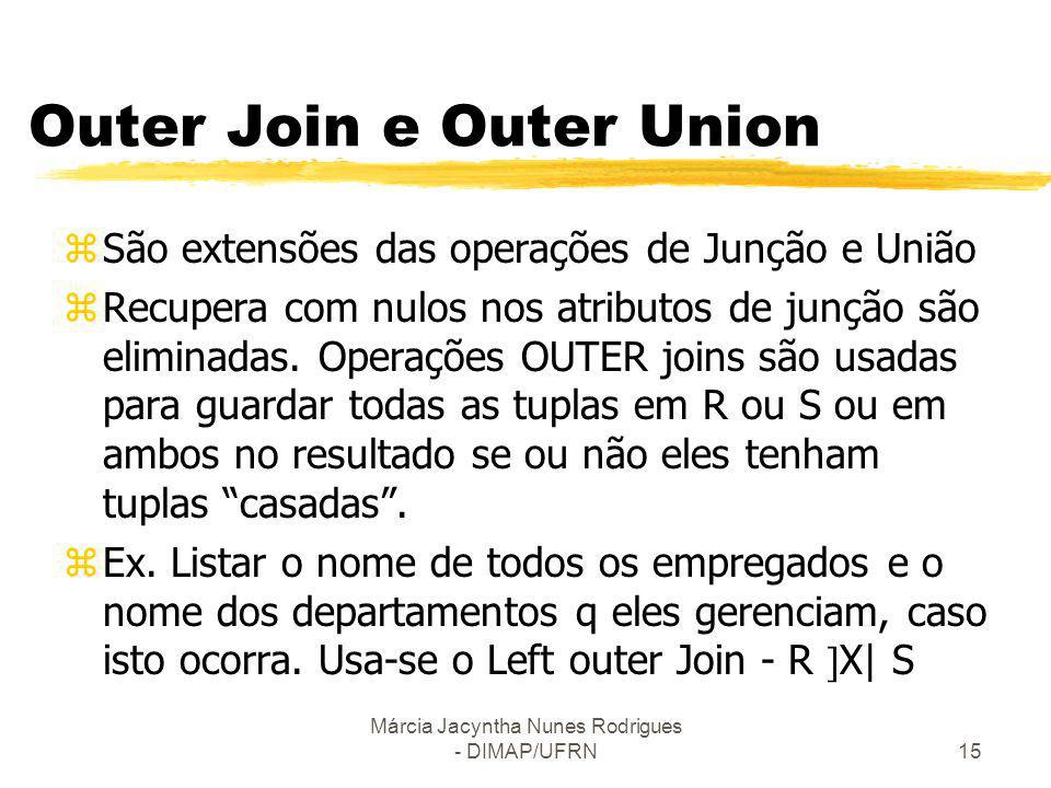 Outer Join e Outer Union