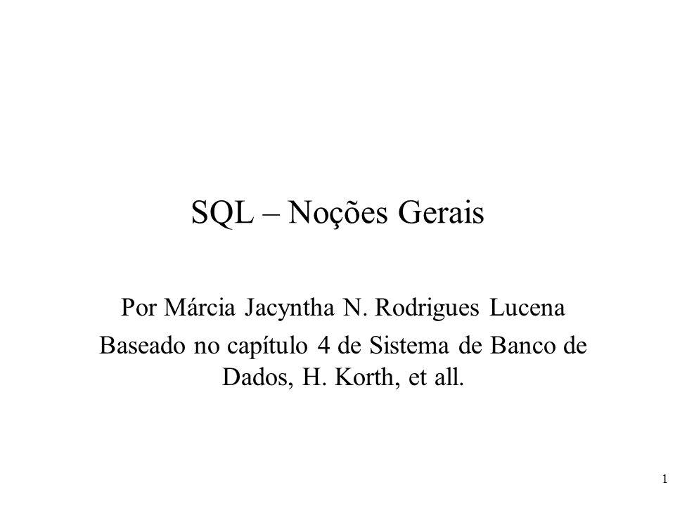 SQL – Noções Gerais Por Márcia Jacyntha N. Rodrigues Lucena