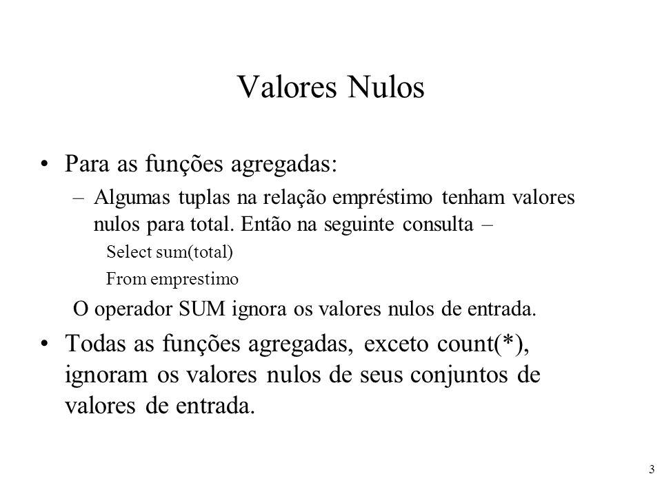 Valores Nulos Para as funções agregadas: