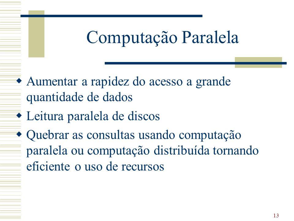 Computação Paralela Aumentar a rapidez do acesso a grande quantidade de dados. Leitura paralela de discos.