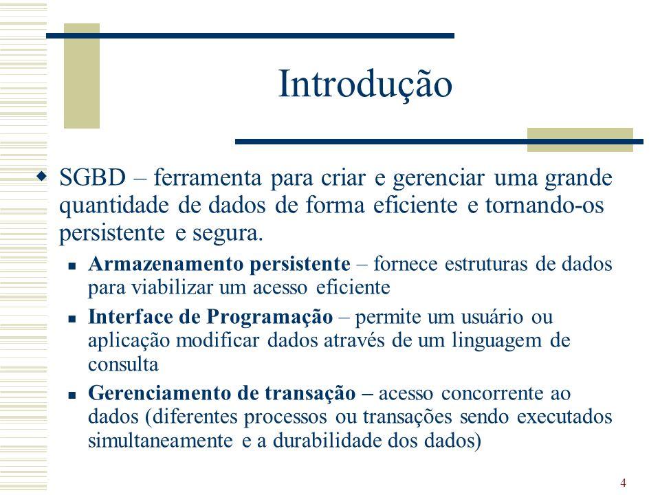Introdução SGBD – ferramenta para criar e gerenciar uma grande quantidade de dados de forma eficiente e tornando-os persistente e segura.