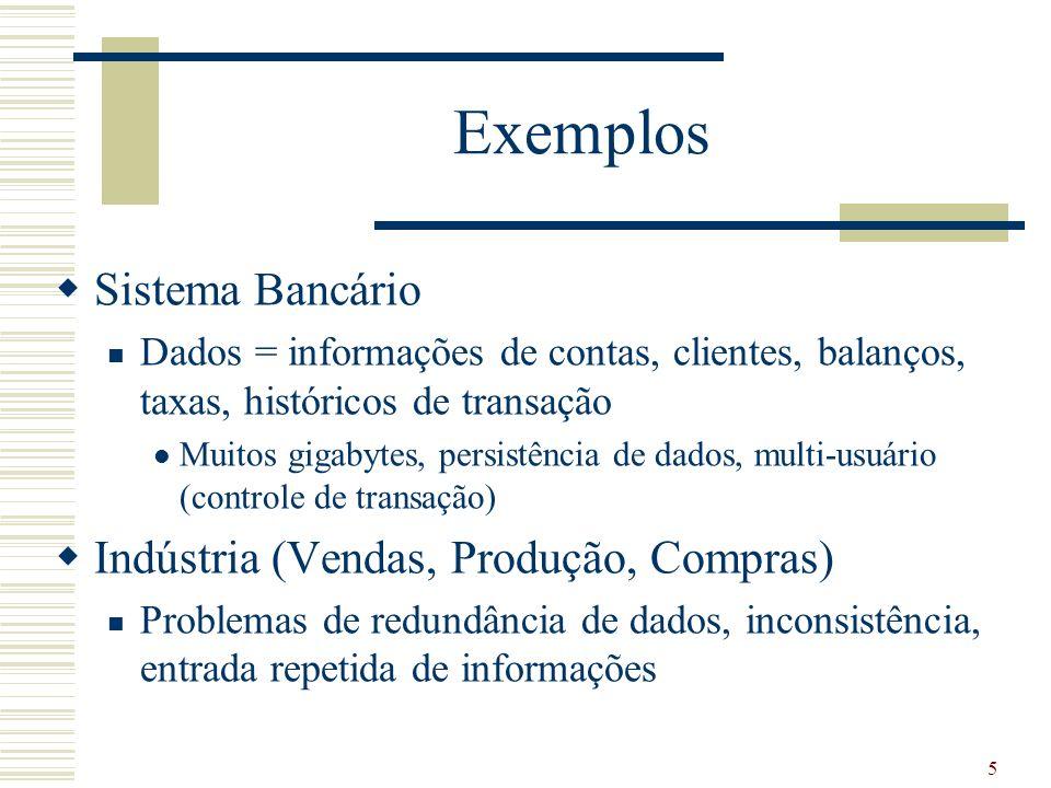 Exemplos Sistema Bancário Indústria (Vendas, Produção, Compras)