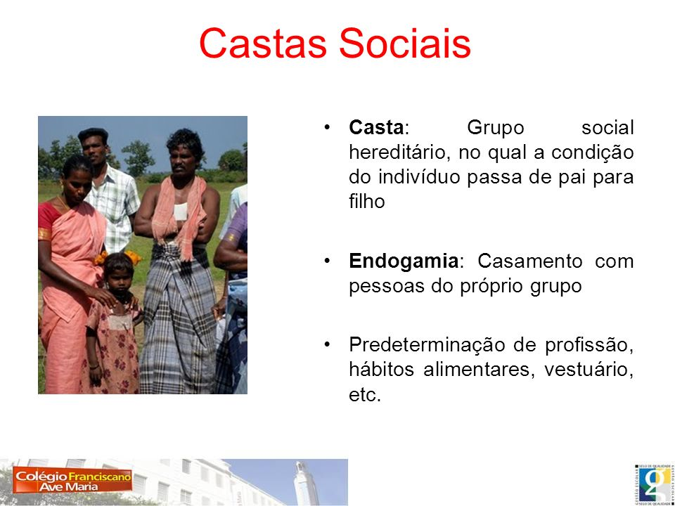 Castas Sociais Casta: Grupo social hereditário, no qual a condição do indivíduo passa de pai para filho.
