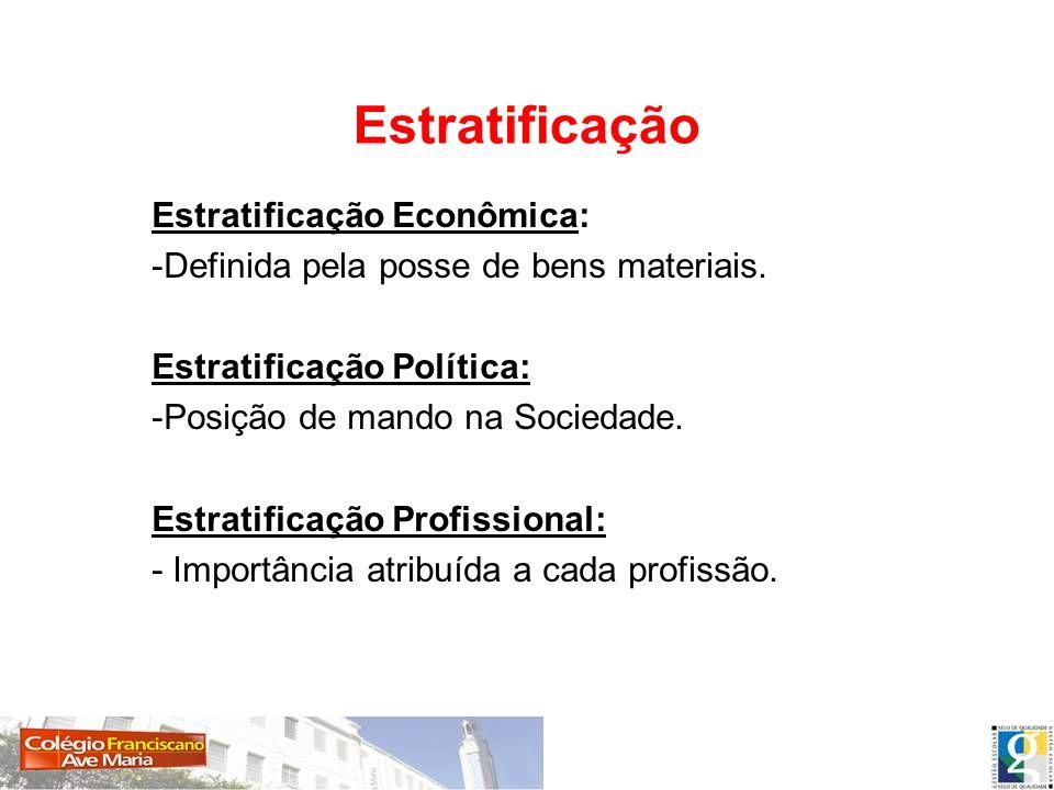 Estratificação Estratificação Econômica: