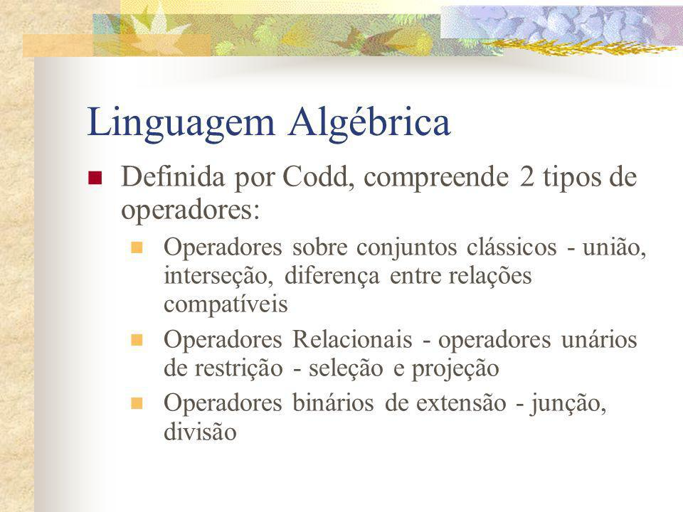 Linguagem Algébrica Definida por Codd, compreende 2 tipos de operadores: