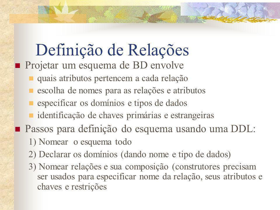Definição de Relações Projetar um esquema de BD envolve