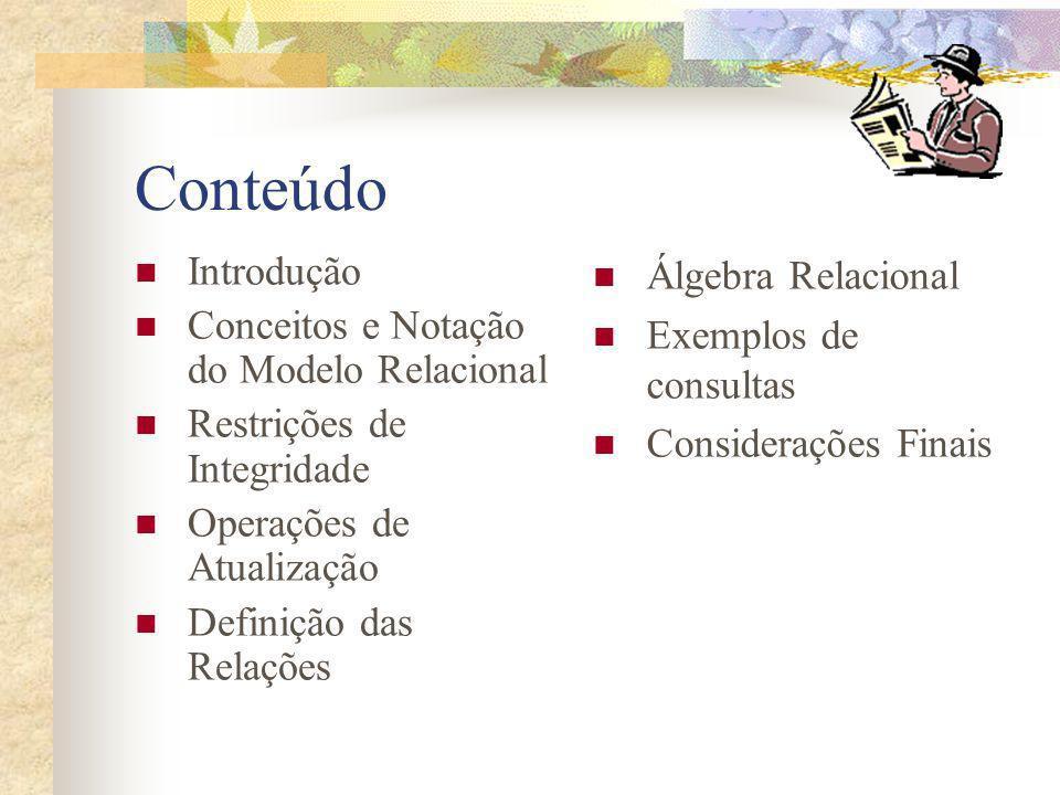 Conteúdo Introdução Conceitos e Notação do Modelo Relacional