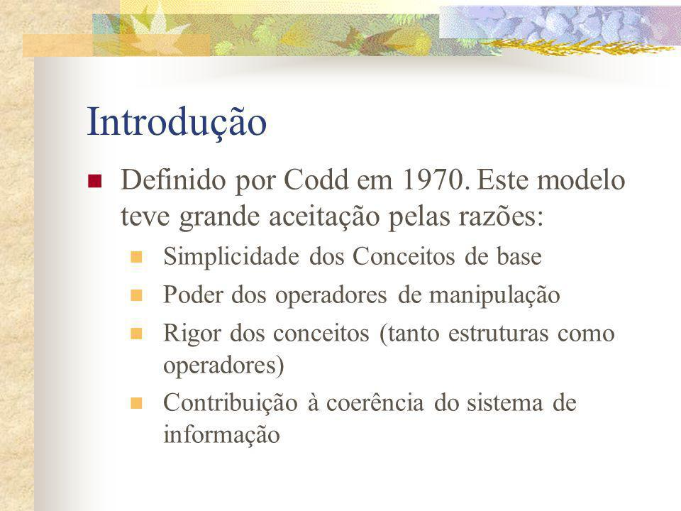 Introdução Definido por Codd em 1970. Este modelo teve grande aceitação pelas razões: Simplicidade dos Conceitos de base.