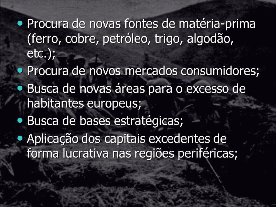 Procura de novas fontes de matéria-prima (ferro, cobre, petróleo, trigo, algodão, etc.);