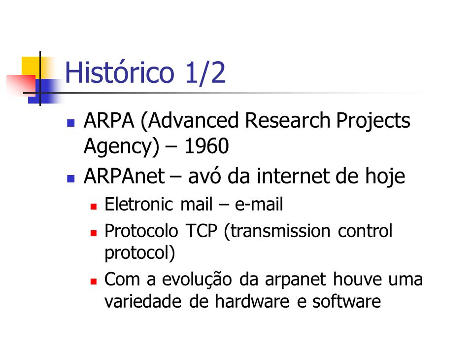 Histórico 1/2 ARPA (Advanced Research Projects Agency) – 1960