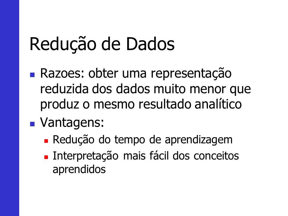 Redução de Dados Razoes: obter uma representação reduzida dos dados muito menor que produz o mesmo resultado analítico.