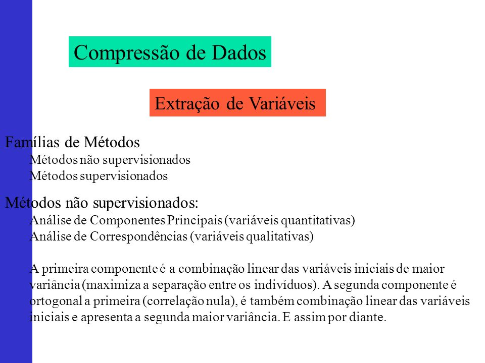 Compressão de Dados Extração de Variáveis Famílias de Métodos