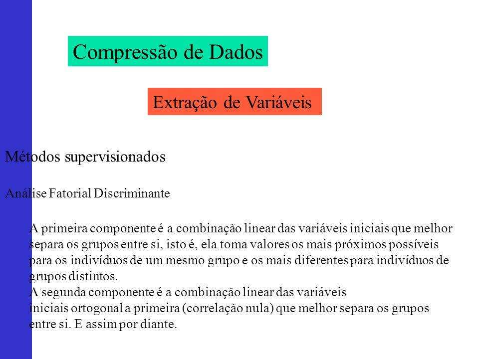 Compressão de Dados Extração de Variáveis Métodos supervisionados