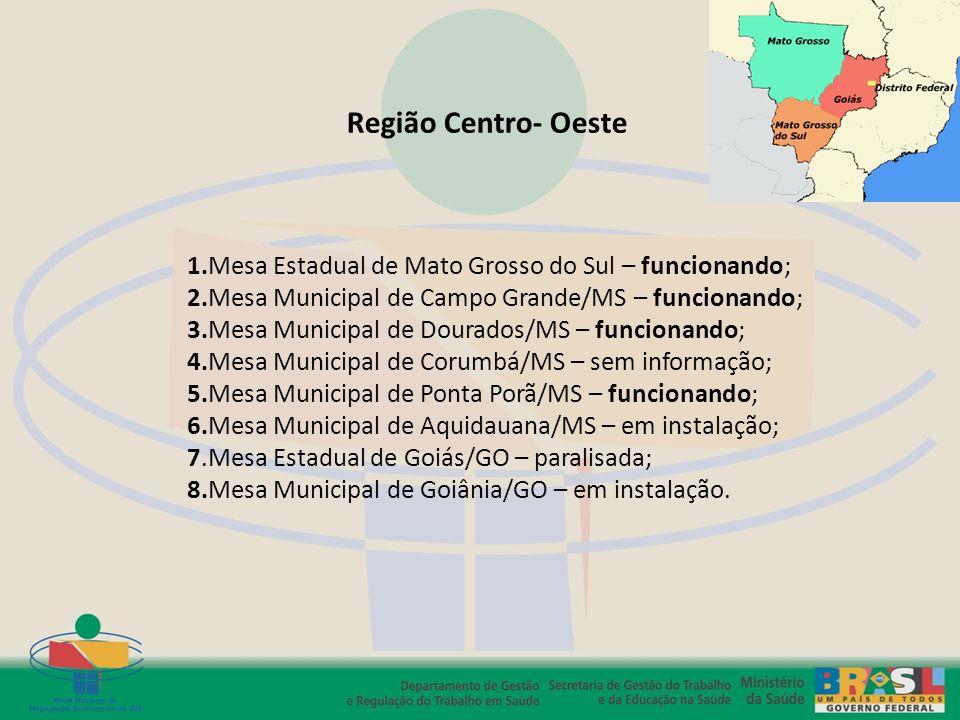 Região Centro- Oeste 1.Mesa Estadual de Mato Grosso do Sul – funcionando; 2.Mesa Municipal de Campo Grande/MS – funcionando;
