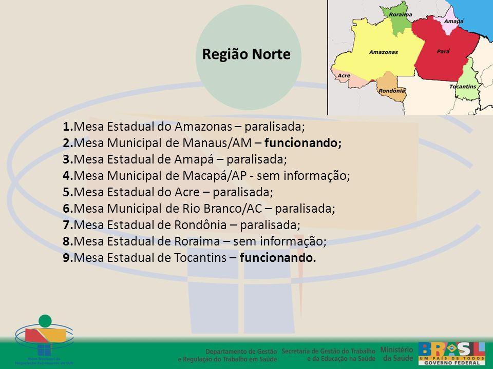Região Norte 1.Mesa Estadual do Amazonas – paralisada;