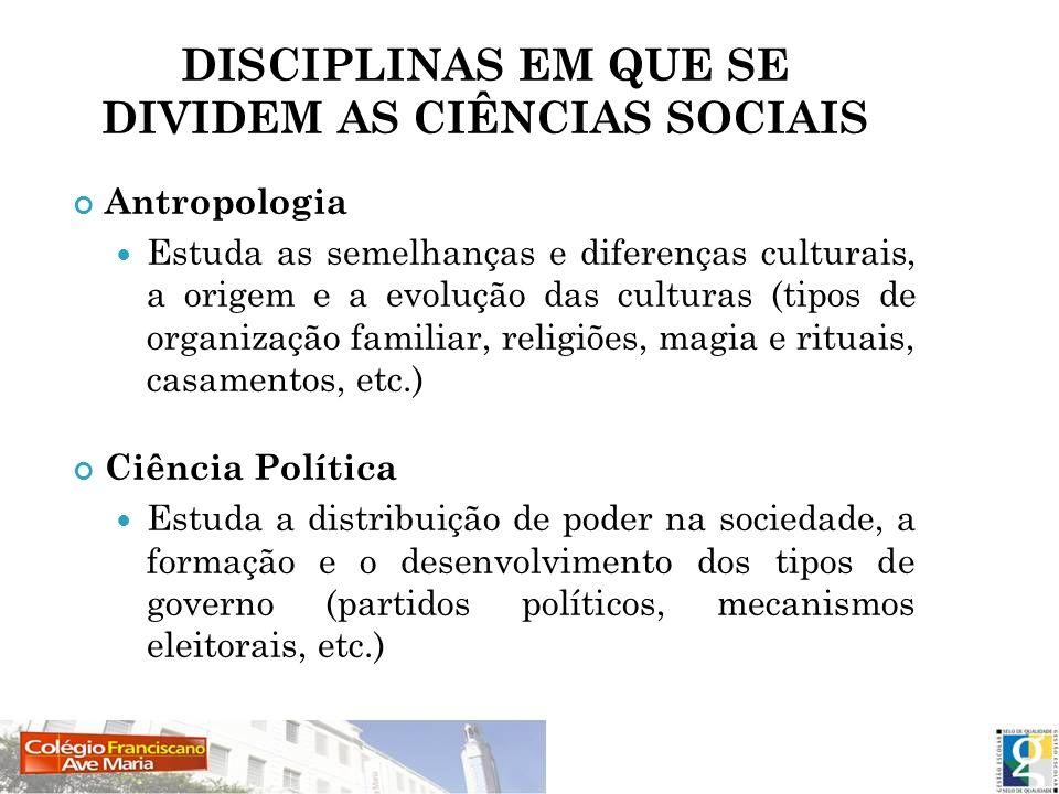 DISCIPLINAS EM QUE SE DIVIDEM AS CIÊNCIAS SOCIAIS
