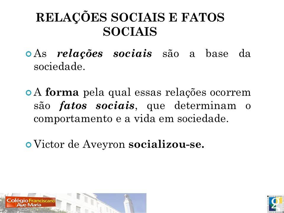 RELAÇÕES SOCIAIS E FATOS SOCIAIS