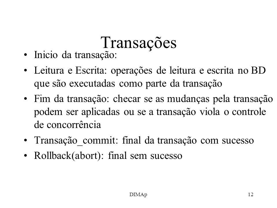 Transações Inicio da transação:
