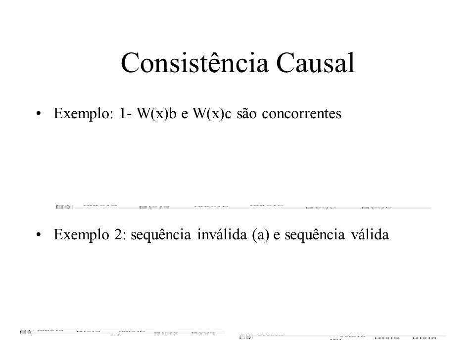 Consistência Causal Exemplo: 1- W(x)b e W(x)c são concorrentes