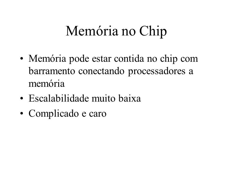 Memória no Chip Memória pode estar contida no chip com barramento conectando processadores a memória.