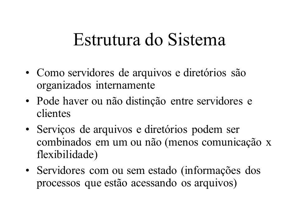 Estrutura do SistemaComo servidores de arquivos e diretórios são organizados internamente. Pode haver ou não distinção entre servidores e clientes.