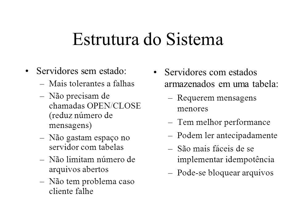 Estrutura do Sistema Servidores sem estado:
