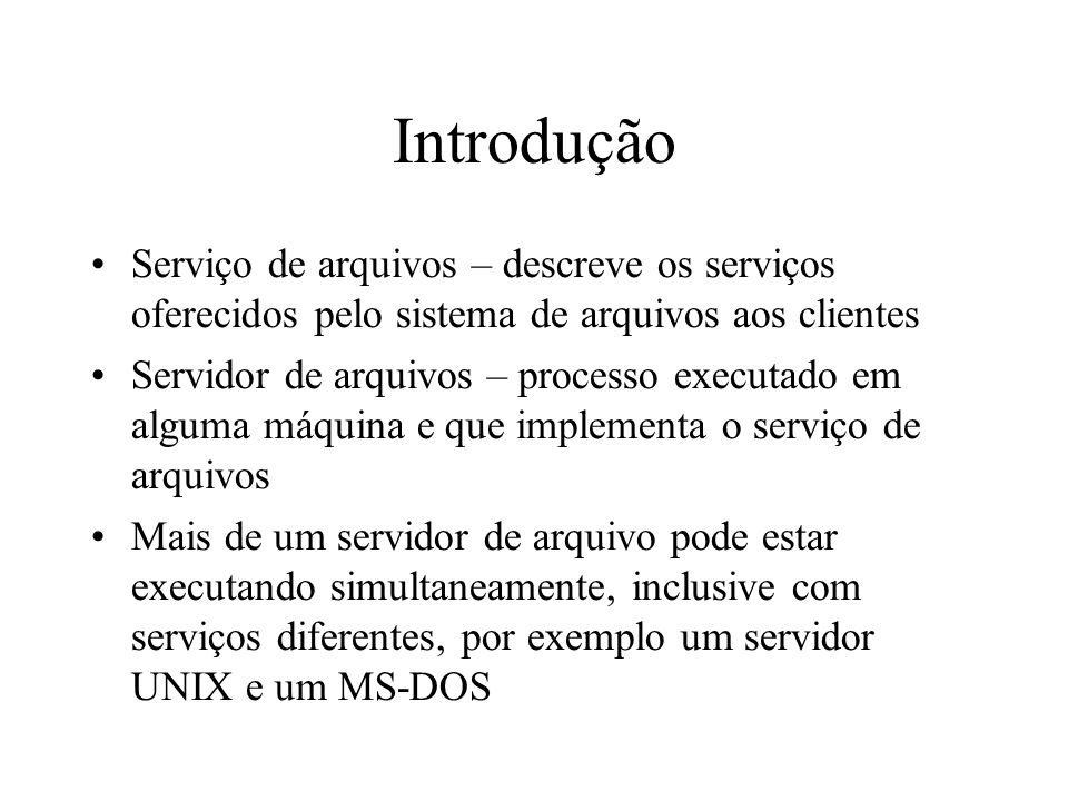 IntroduçãoServiço de arquivos – descreve os serviços oferecidos pelo sistema de arquivos aos clientes.