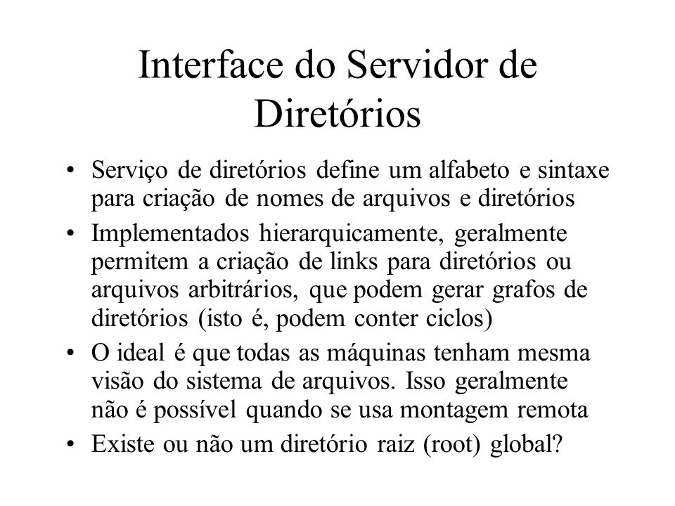 Interface do Servidor de Diretórios