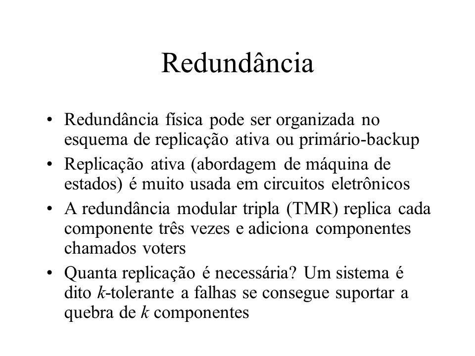 Redundância Redundância física pode ser organizada no esquema de replicação ativa ou primário-backup.