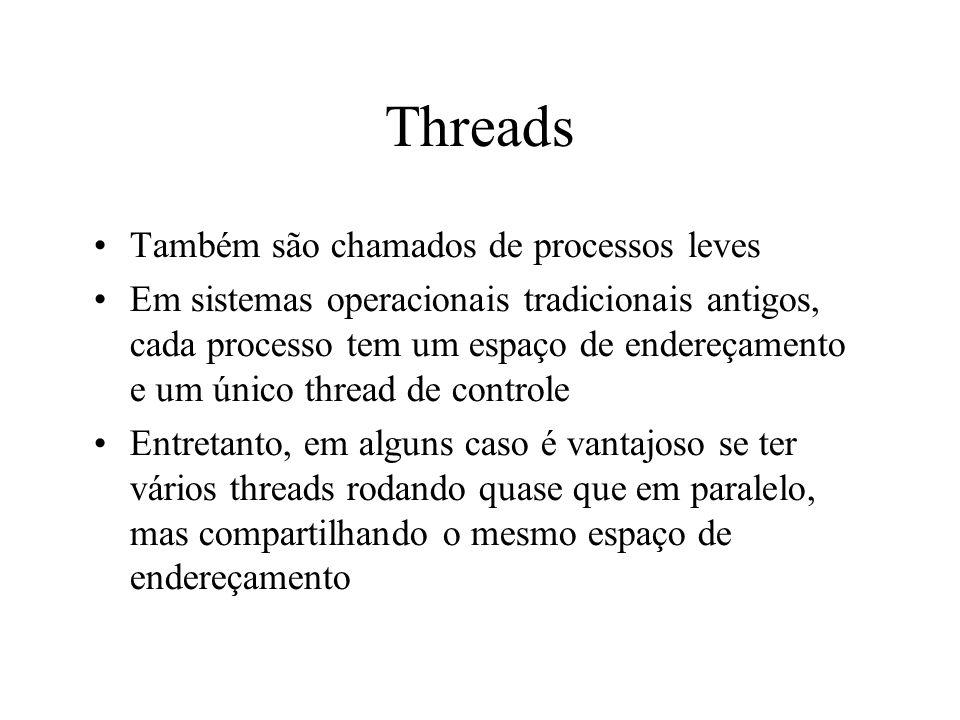 Threads Também são chamados de processos leves
