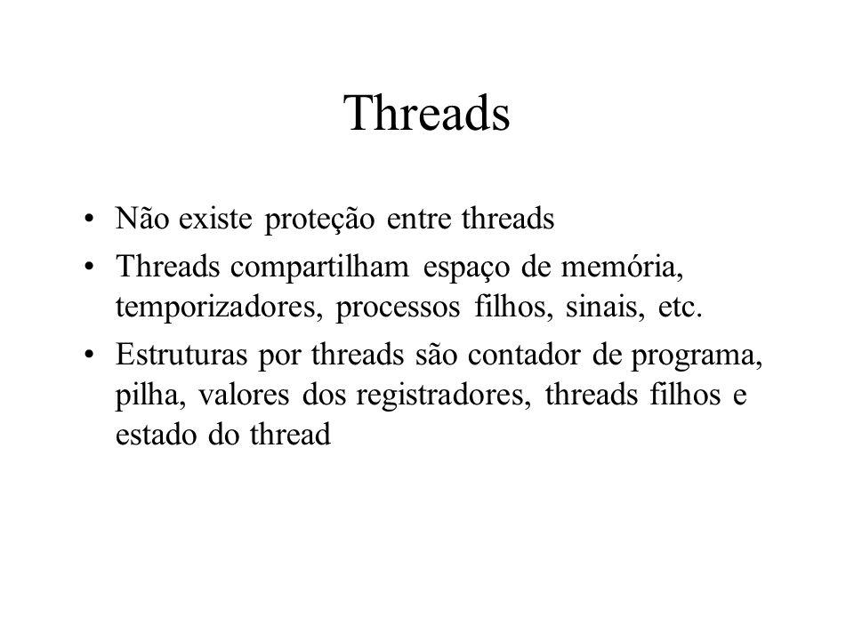 Threads Não existe proteção entre threads