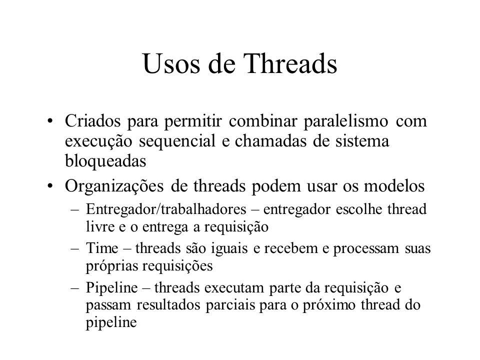 Usos de Threads Criados para permitir combinar paralelismo com execução sequencial e chamadas de sistema bloqueadas.