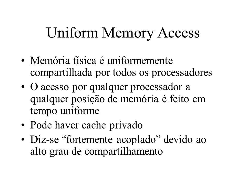 Uniform Memory Access Memória física é uniformemente compartilhada por todos os processadores.