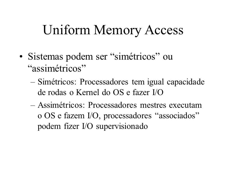 Uniform Memory Access Sistemas podem ser simétricos ou assimétricos