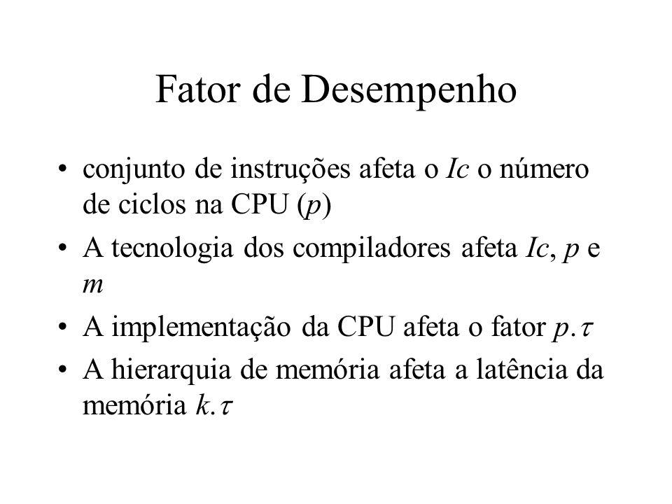 Fator de Desempenho conjunto de instruções afeta o Ic o número de ciclos na CPU (p) A tecnologia dos compiladores afeta Ic, p e m.