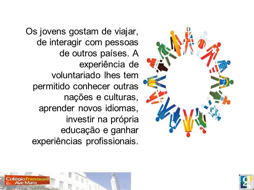 Os jovens gostam de viajar, de interagir com pessoas de outros países