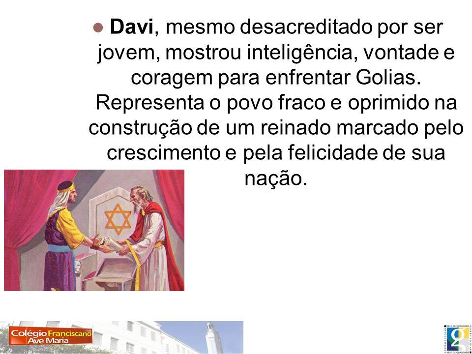 Davi, mesmo desacreditado por ser jovem, mostrou inteligência, vontade e coragem para enfrentar Golias.