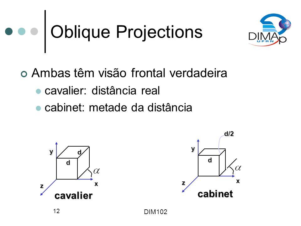 Oblique Projections Ambas têm visão frontal verdadeira