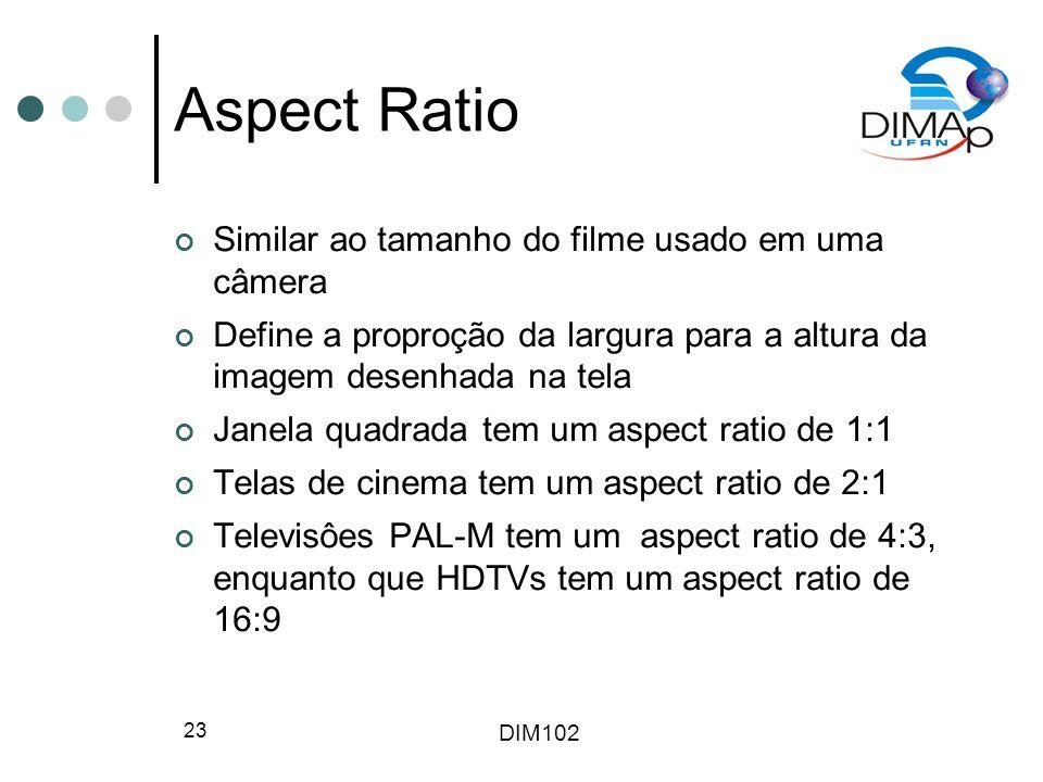 Aspect Ratio Similar ao tamanho do filme usado em uma câmera