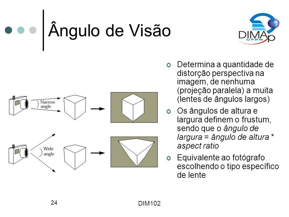 Ângulo de Visão Determina a quantidade de distorção perspectiva na imagem, de nenhuma (projeção paralela) a muita (lentes de ângulos largos)