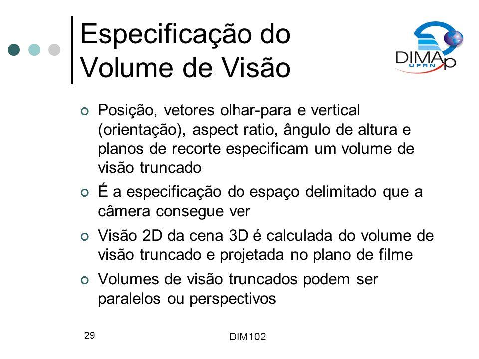 Especificação do Volume de Visão