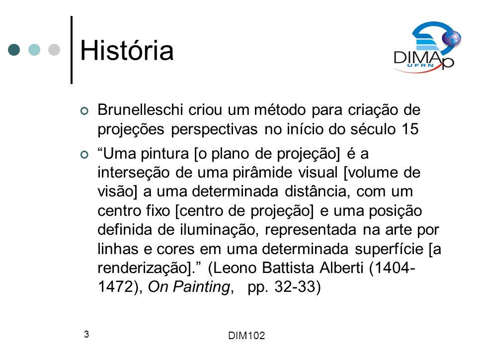 História Brunelleschi criou um método para criação de projeções perspectivas no início do século 15.