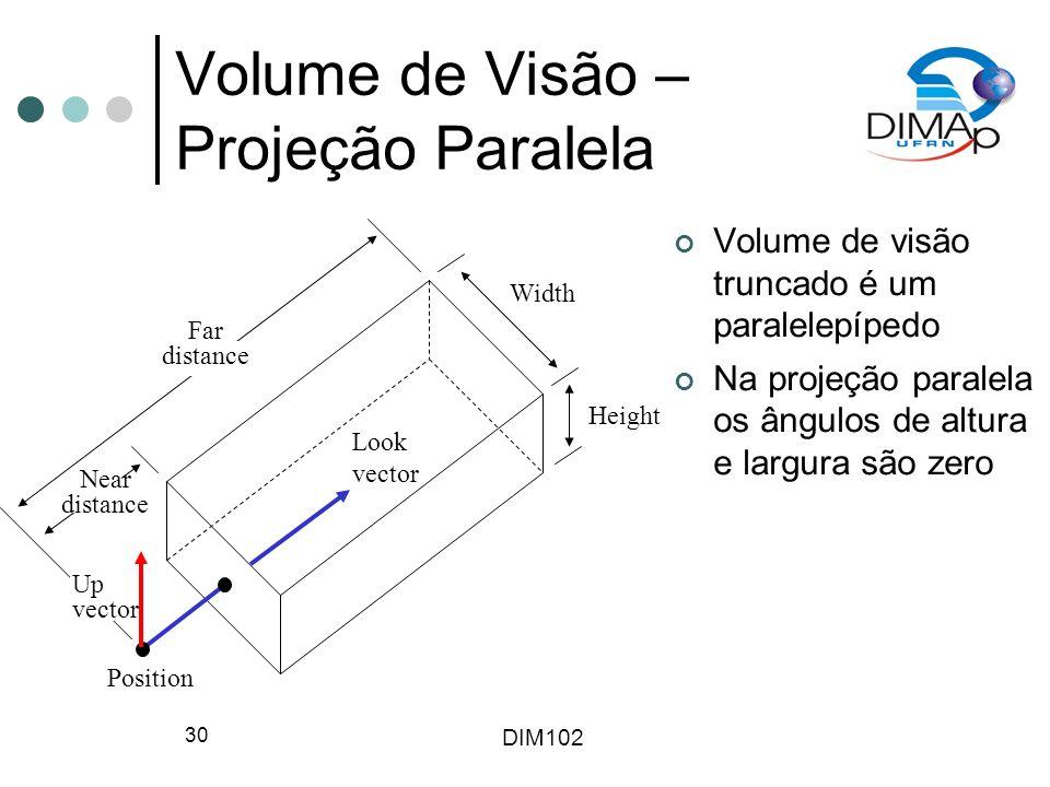 Volume de Visão – Projeção Paralela