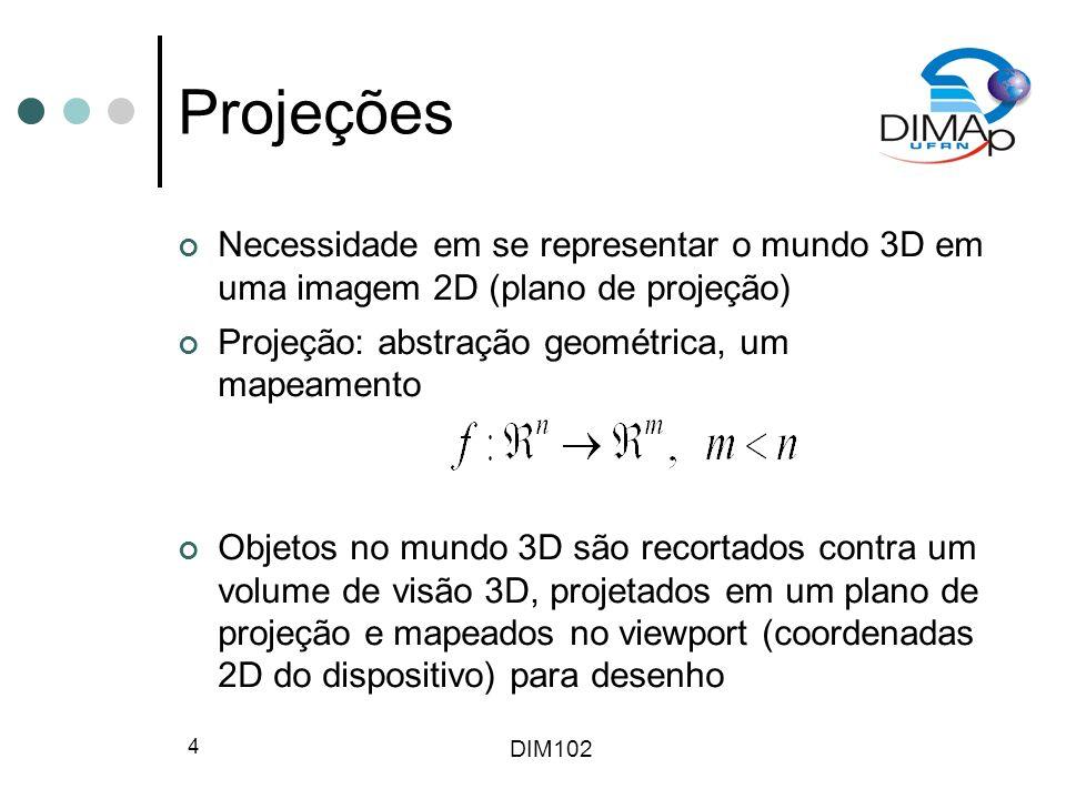 Projeções Necessidade em se representar o mundo 3D em uma imagem 2D (plano de projeção) Projeção: abstração geométrica, um mapeamento.