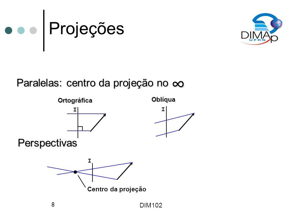 ∞ Projeções Paralelas: centro da projeção no Perspectivas Ortográfica
