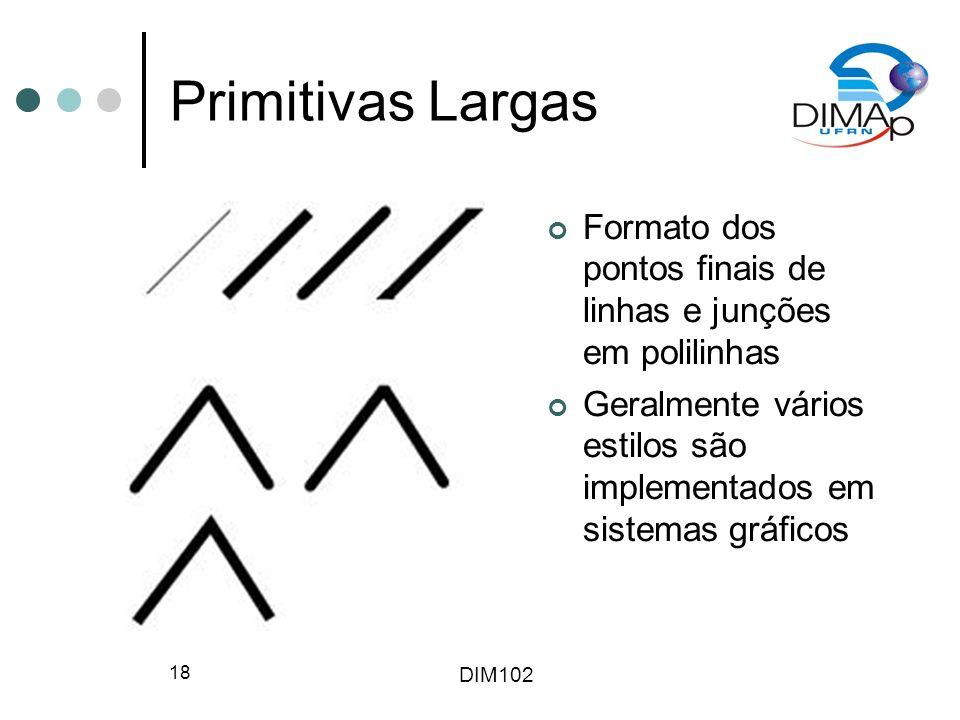 Primitivas Largas Formato dos pontos finais de linhas e junções em polilinhas.