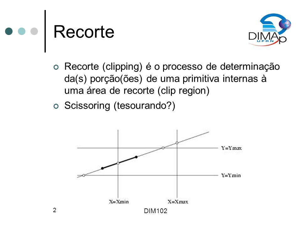 Recorte Recorte (clipping) é o processo de determinação da(s) porção(ões) de uma primitiva internas à uma área de recorte (clip region)